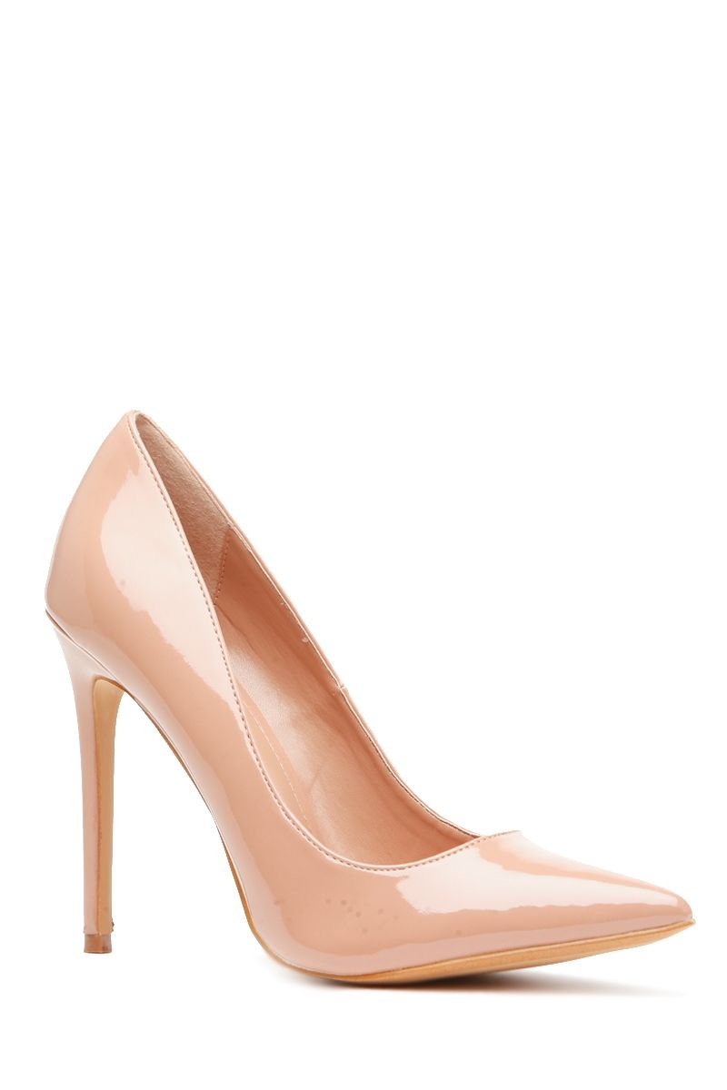 1ea25ccf198b Taupe Faux Patent Leather Pointy Toe Classic Pumps   Cicihot Heel Shoes  online store sales Stiletto Heel Shoes