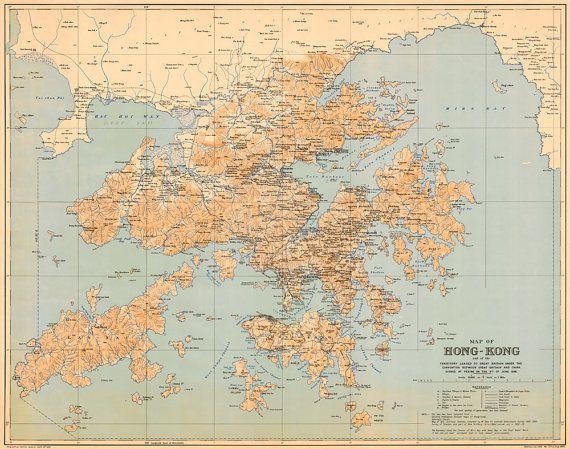 Historical map of Hong Kong - Large wall map print on paper ...