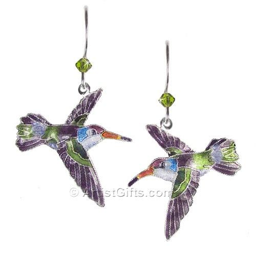 Violet Crowned Hummingbird Earrings Hummingbird Necklace