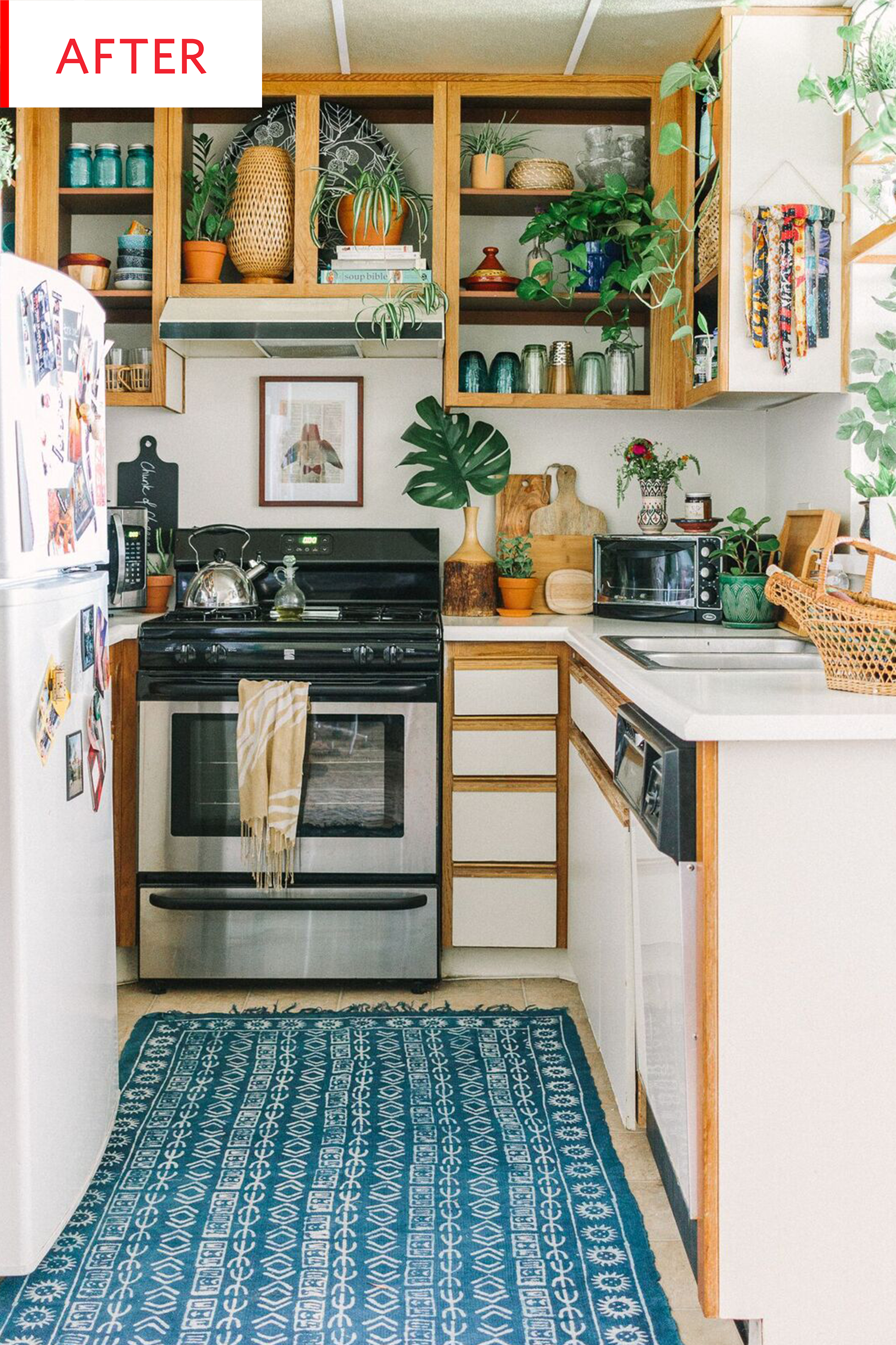 On point color coordination with a palette of greens and plenty of greenery and blues before and after we love this no reno required rental kitchen