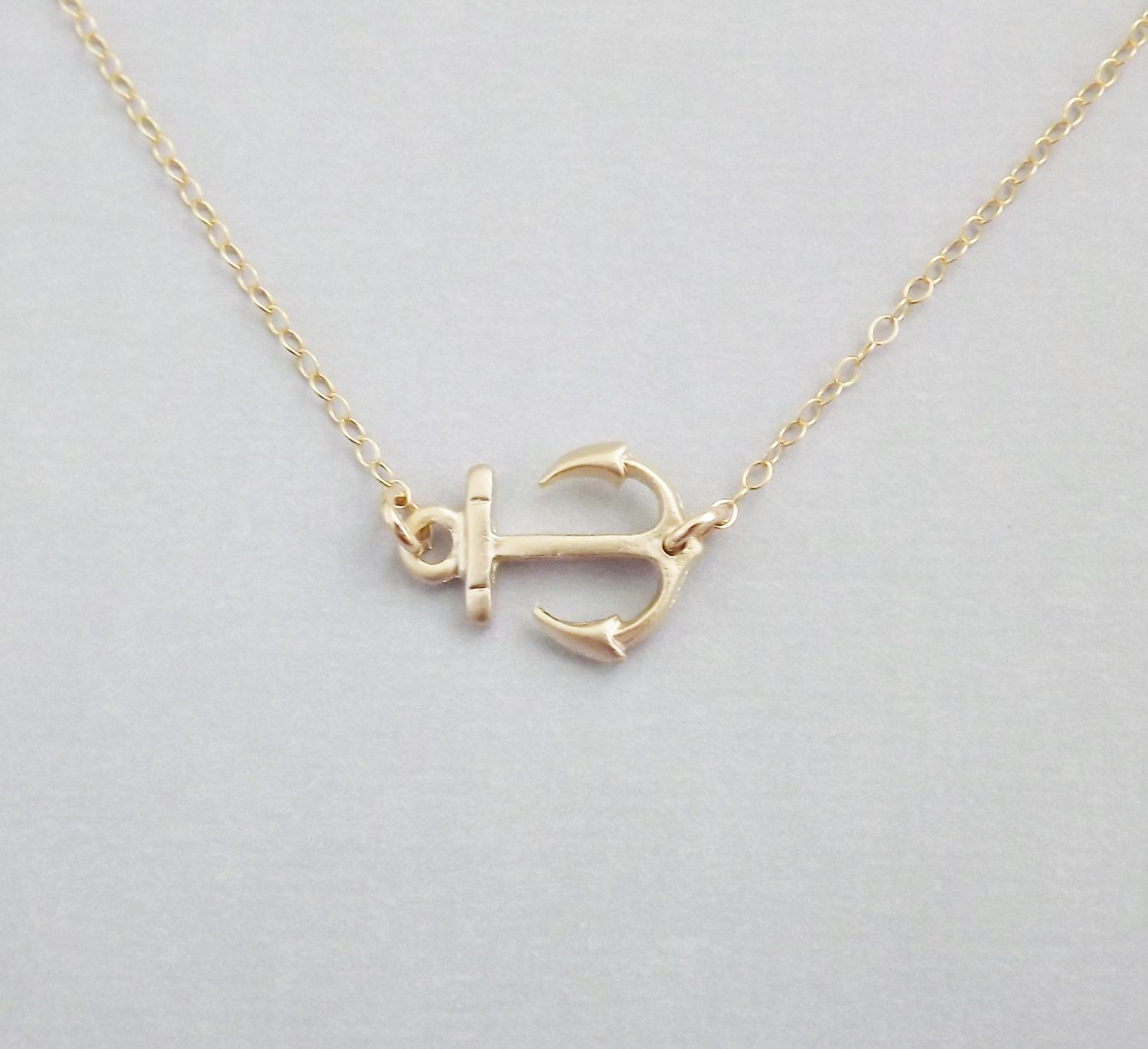 Sideways Gold Anchor on 14k Gold Filled Chain Nautical Jewelry