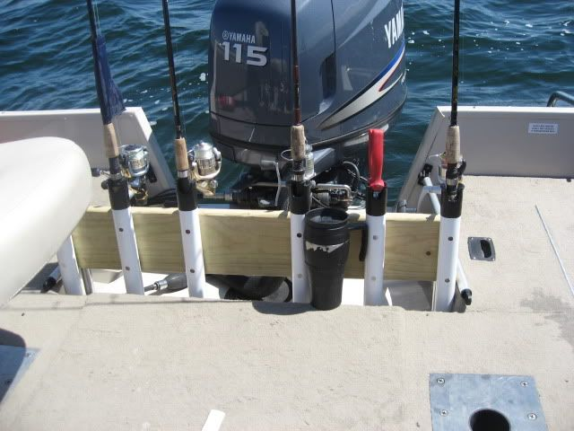 Homemade rod storage holders for boat open water for Homemade fishing rod holders for boats