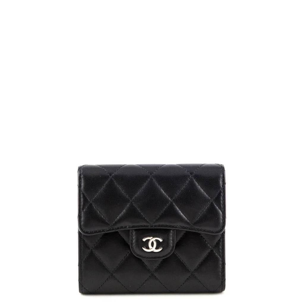 Chanel Black Lambskin Small Bifold Wallet Shw Designer Bags Chanel Black Bags Bi Fold Wallet