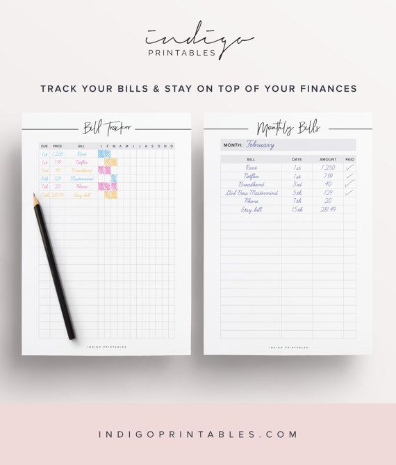 Monthly Bill Tracker Finance Planner Money By Indigoprintables