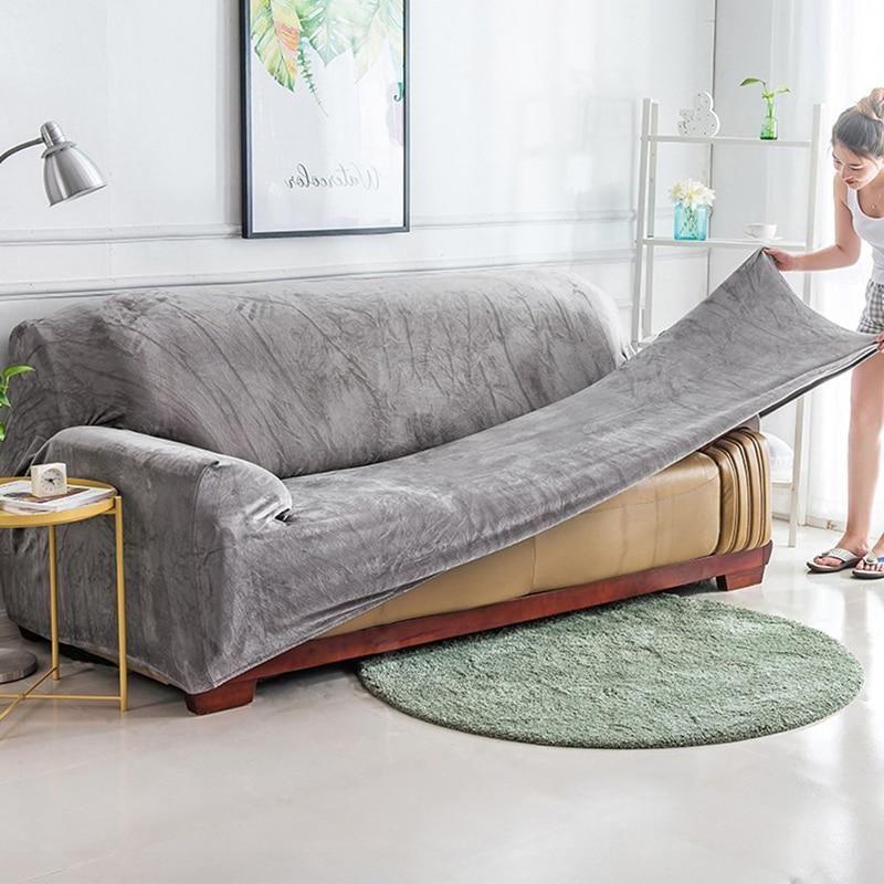 Plush Fabric Sofa Cover Leather