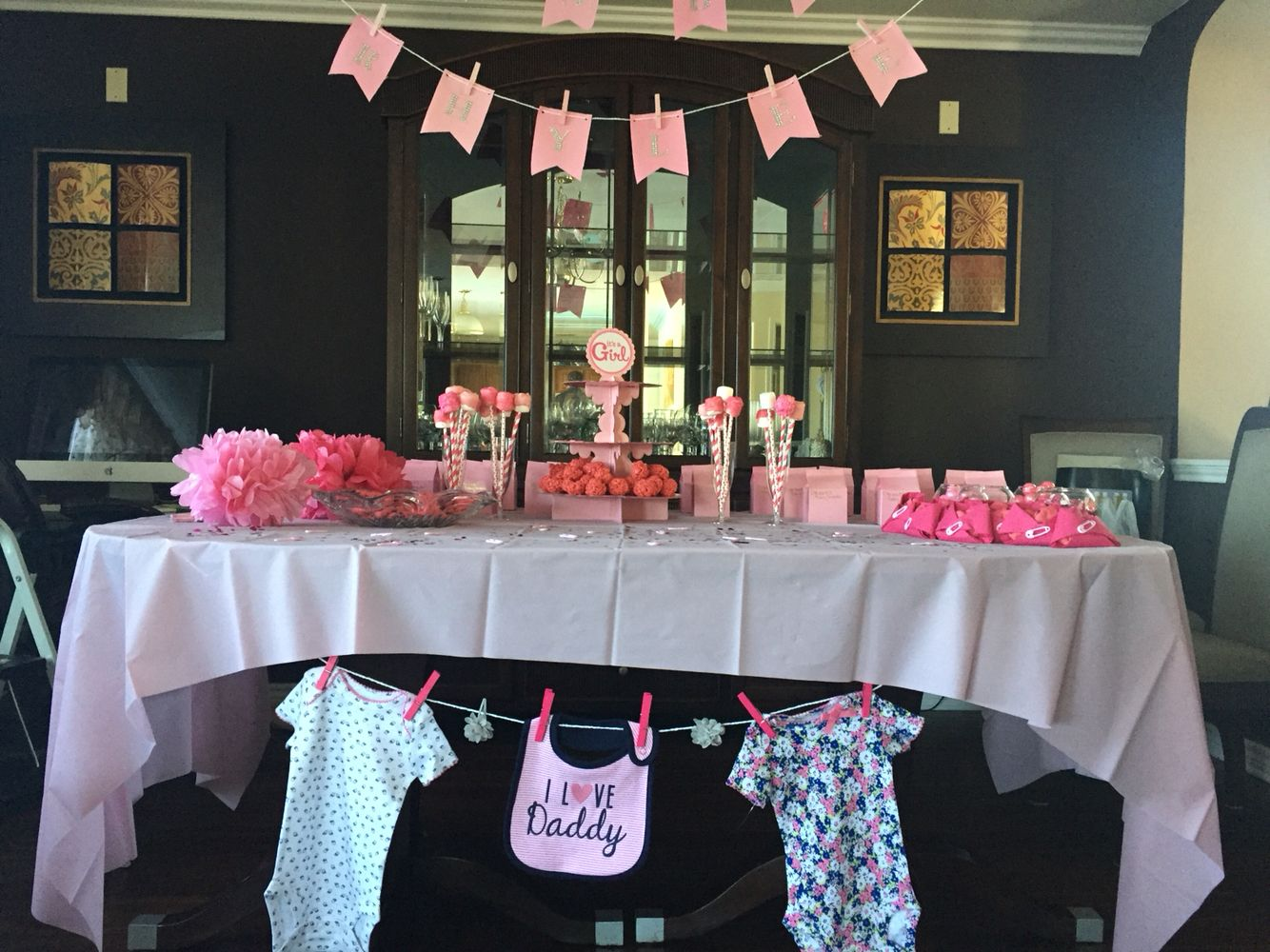 Baby Shower Room Set Up Ideas Baby shower set up ideas banners table set up for baby girl pink themed