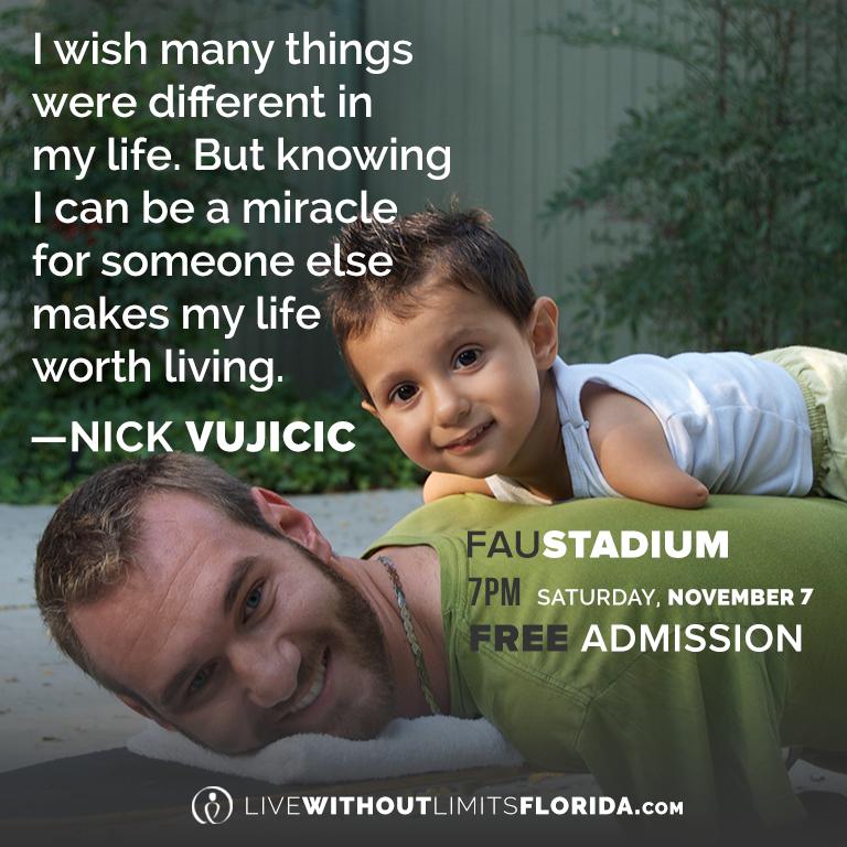 Live Without Limits Florida with Nick Vujicic November 7, 2015 at @FloridaAtlantic