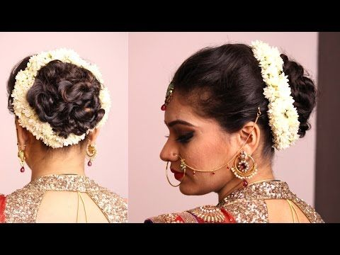 Hairstyle Twisted Bun With Gajara Bridal Hairstyle Youtube Indian Bridal Hairstyles Indian Wedding Hairstyles Top Knot Hairstyles