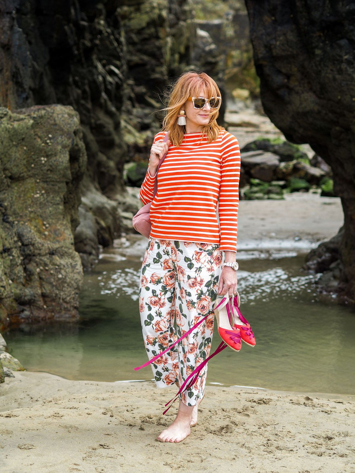 How to orange wear floral pants