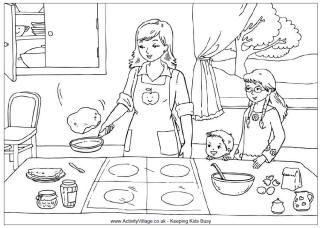 Pancake Day Colouring Page Making Pancakes