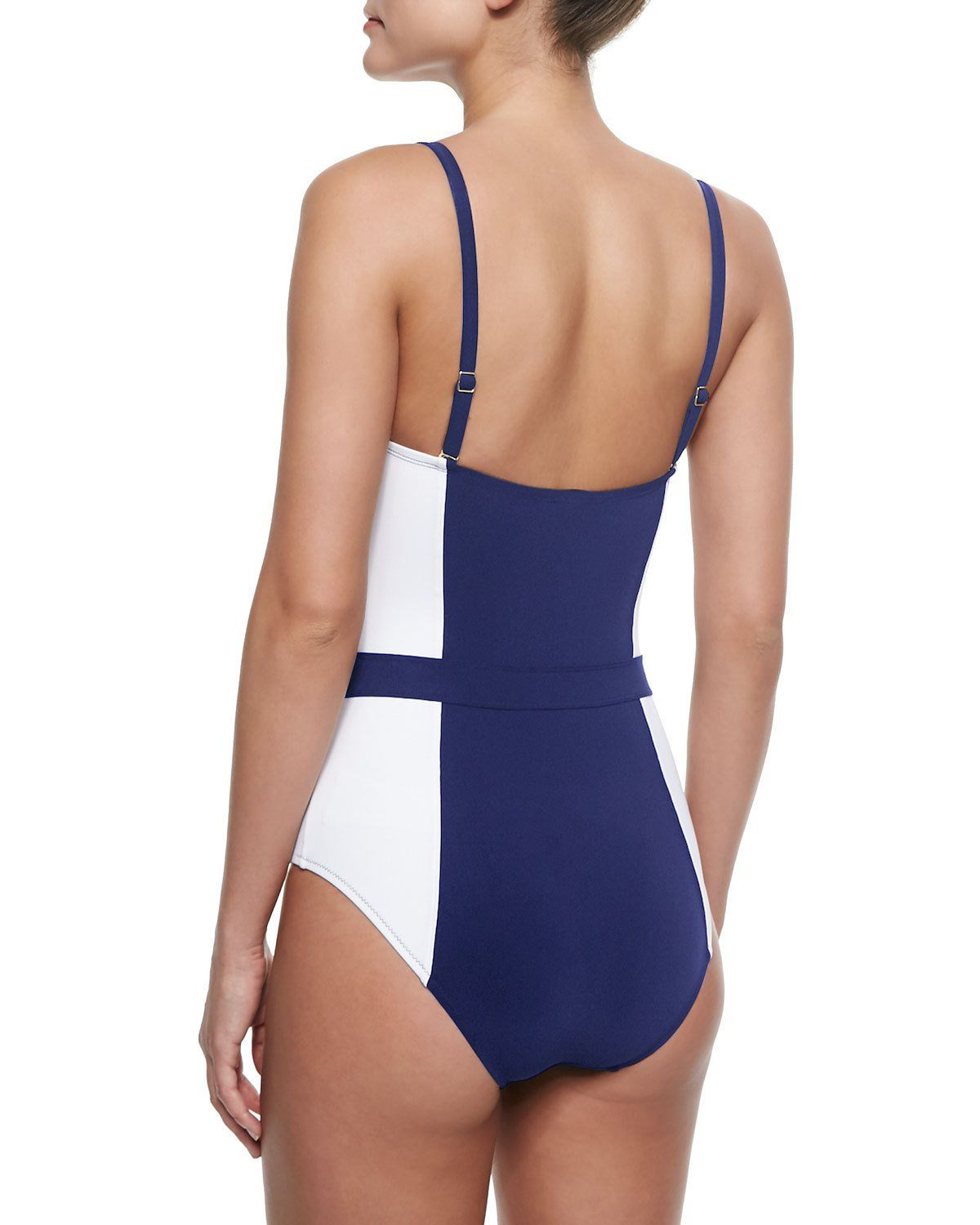 4738a8312b192 Lipsi Two-Tone One-Piece Swimsuit Navy/Ivory | Products | One piece ...