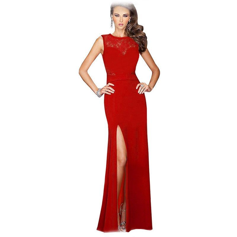 9abc267e6ddf eSale Women Sexy Side Slit Lace Patchwork Summer Elegant Red Evening Party  Prom Celebrity Wedding Long Maxi Dress Robe CG07