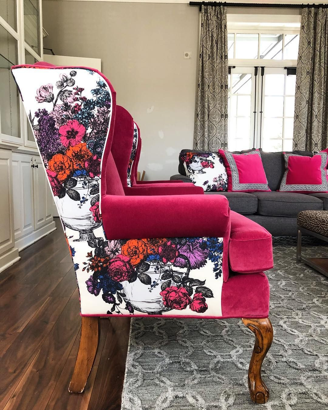 Beautiful and bold floral armchairs with Floribunda by Abbe ...