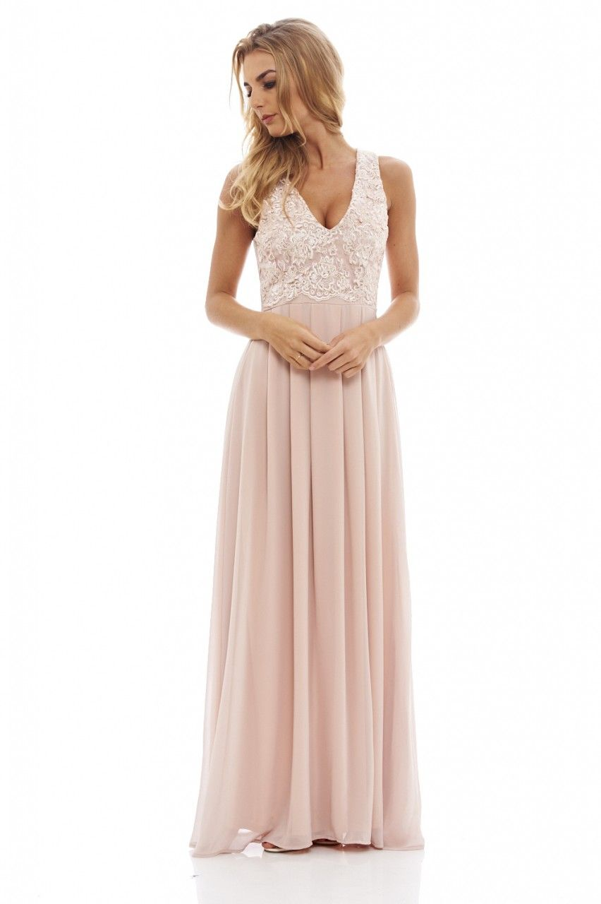 Women\'s Beige Lace Top Maxi Dress | Grooms, Wedding and Weddings