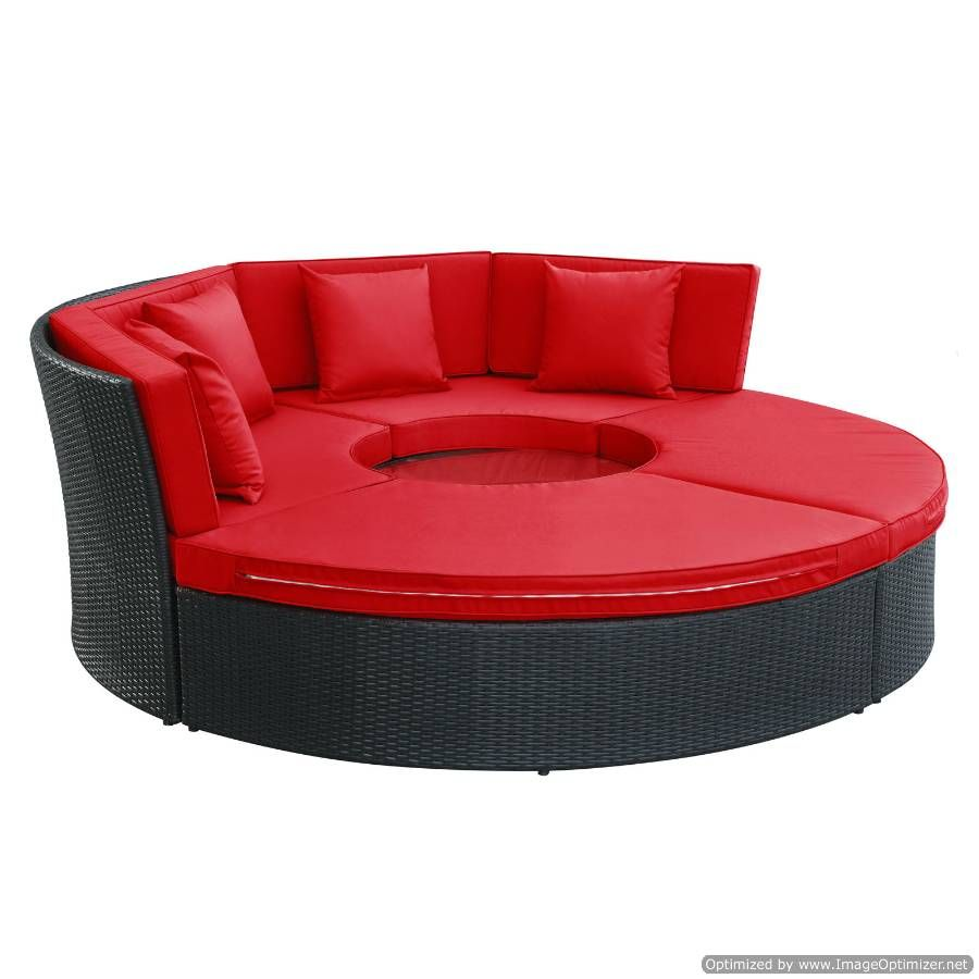 Pursuit Circular Daybed Set Eei 956 Exp Red Set By Lexmod Outdoor Patio Furniture Cover Daybed Sets Outdoor Living Furniture