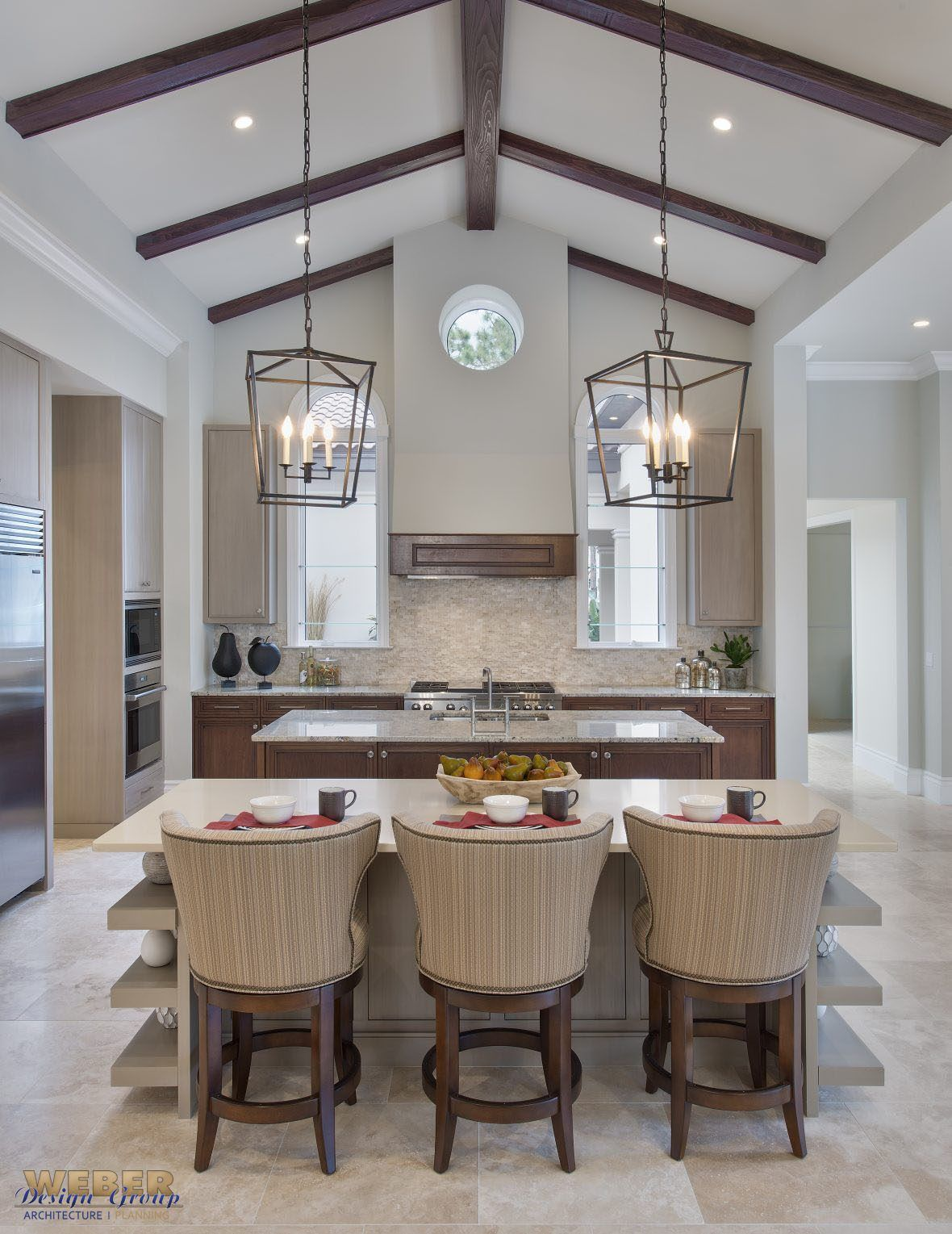 Photo of Transitional Mediterranean Courtyard Home Design by Weber Design Group, Inc. – Naples & Palm Beach, FL