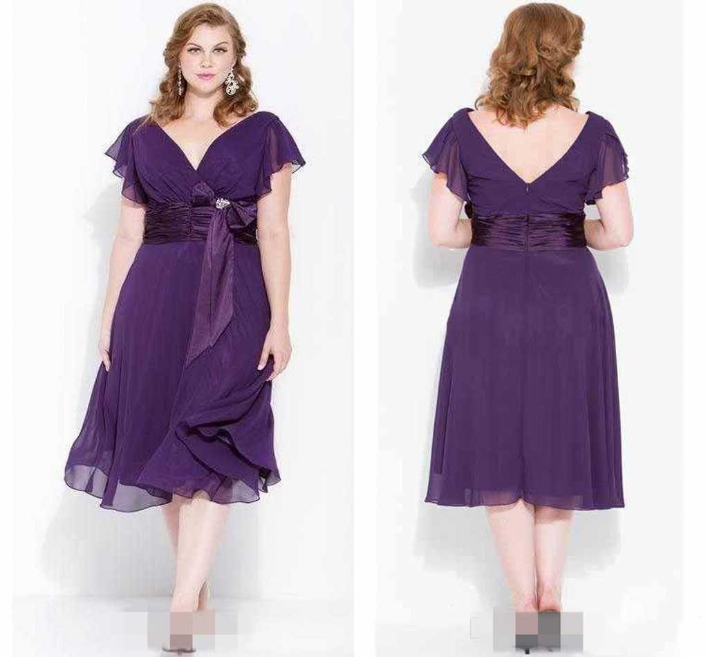Simple Elegant Tea Length Chiffon Cap Sleeve Wedding: 2016 Cheap Plus Size Purple Tea Length Prom Dresses V Neck
