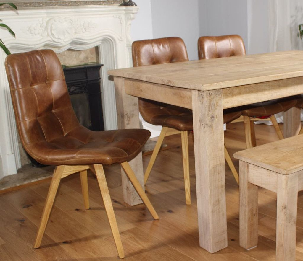 Allegro Brown Leather Oak Dining Chairs Pair Oak Dining Chairs