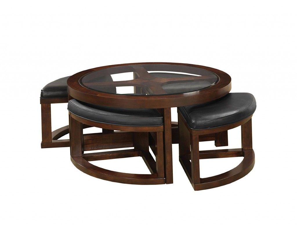 Cushion ottoman coffee table padded coffee table round