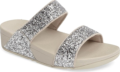 2d50359b74c Women s Fitflop Glitterball Slide Sandal in Silver Fabric. Glittering  sparkles add a glamorous touch to the wide
