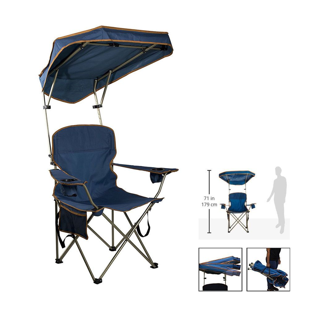 Camping Chair With Canopy Folding Camping Chair With Canopy Sun Shade Beach Cup Holder
