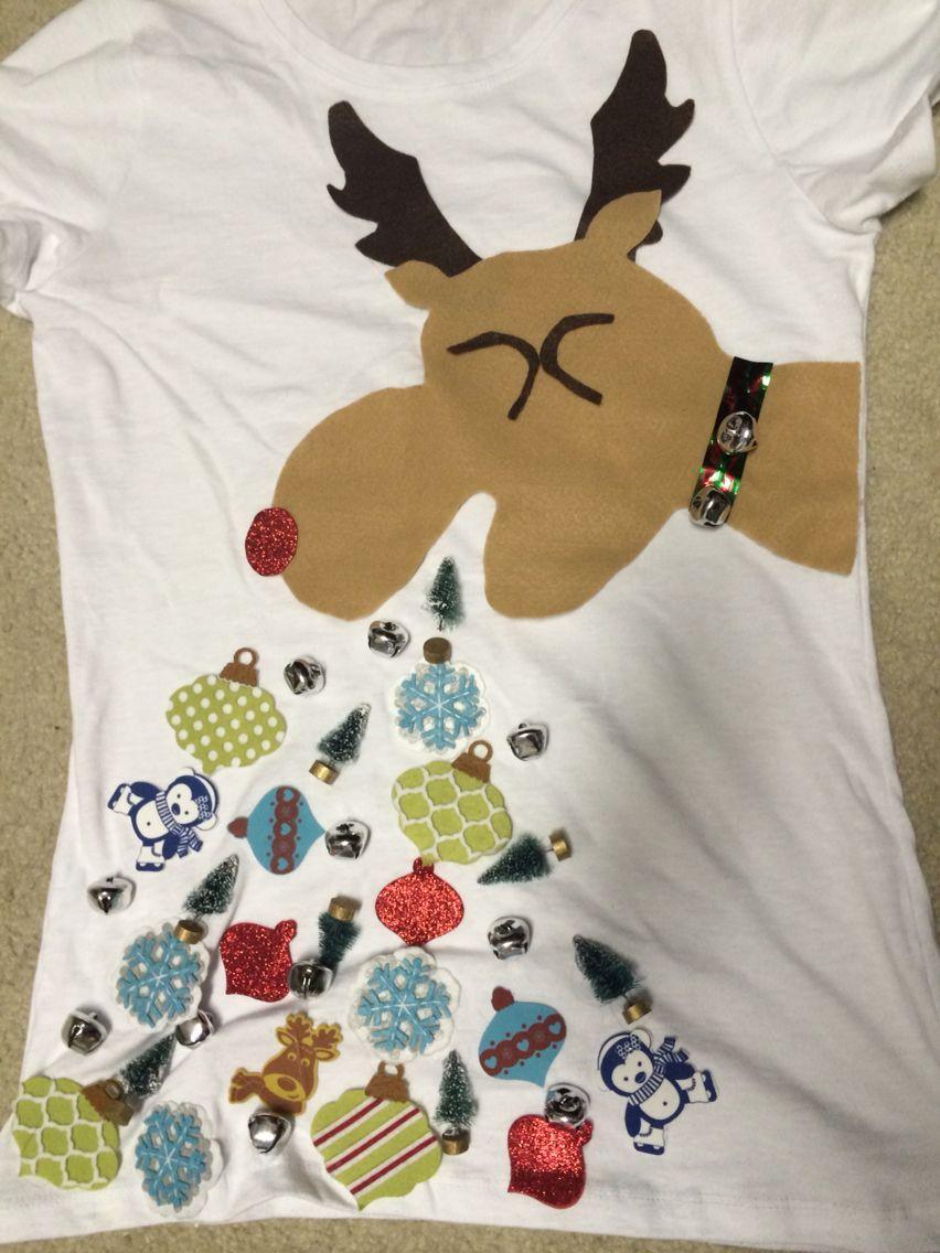 897c912aa1 Tacky   Ugly Sweater of felt Reindeer throwing up Christmas decor ...