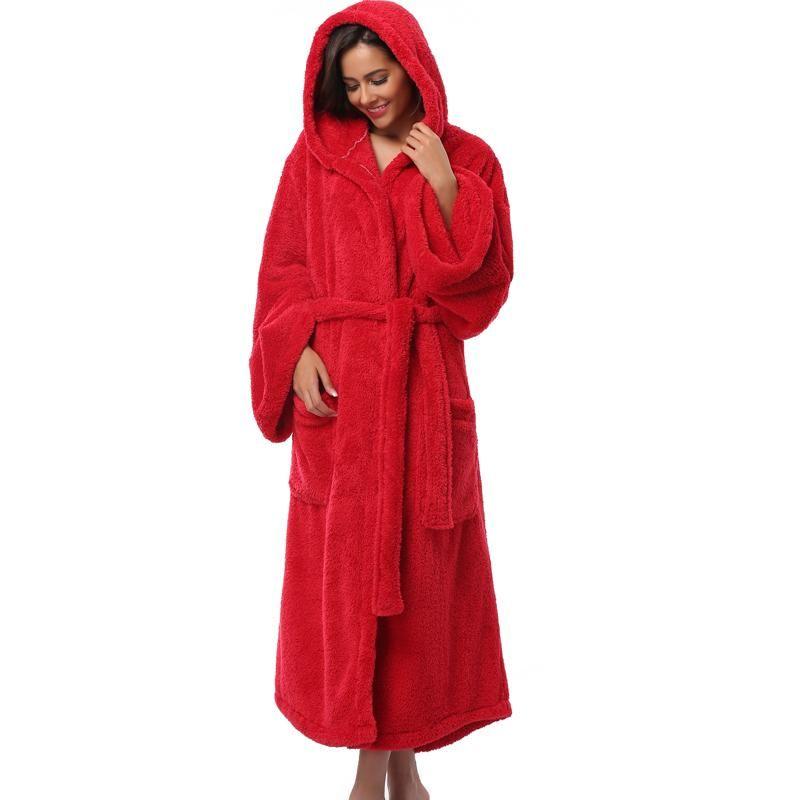 Winter Thick Warm Women Robes 2017 Coral Fleece Sleepwear Long Robe Woman  Hotel Spa Plush Long Hooded Bathrobe Nightgown Kimono - serenityboutique e94ae2b18