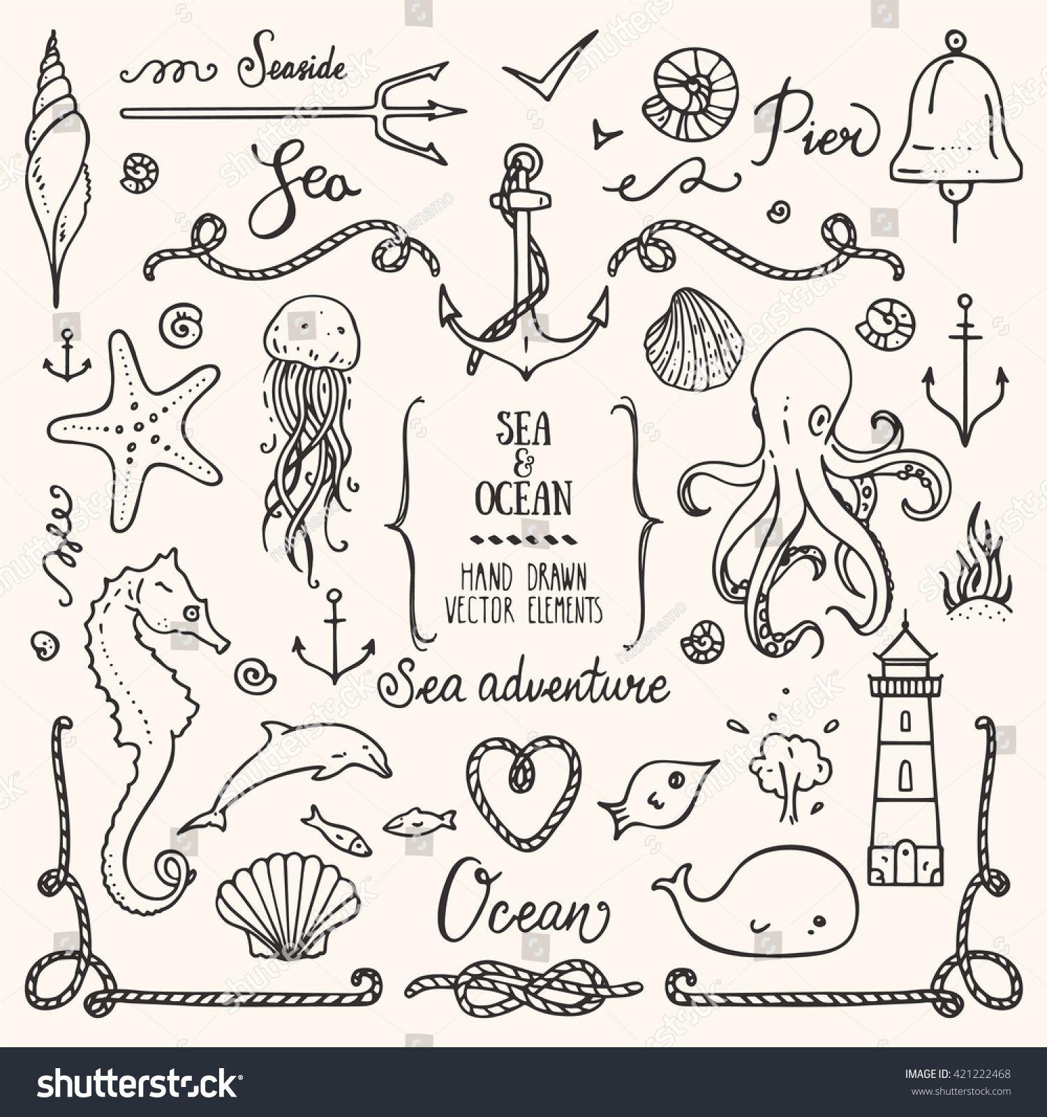 Sea Life Ocean Trip Summer Marine Stock-Vektorgrafik (Lizenzfrei) 421222468