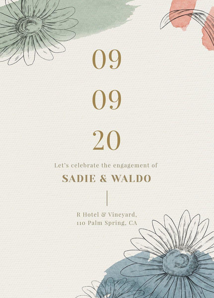 Download Premium Vector Of Beige Wedding Invitation Card Template Vector In 2021 Free Wedding Invitation Templates Wedding Invitation Card Template Botanical Wedding Invitations