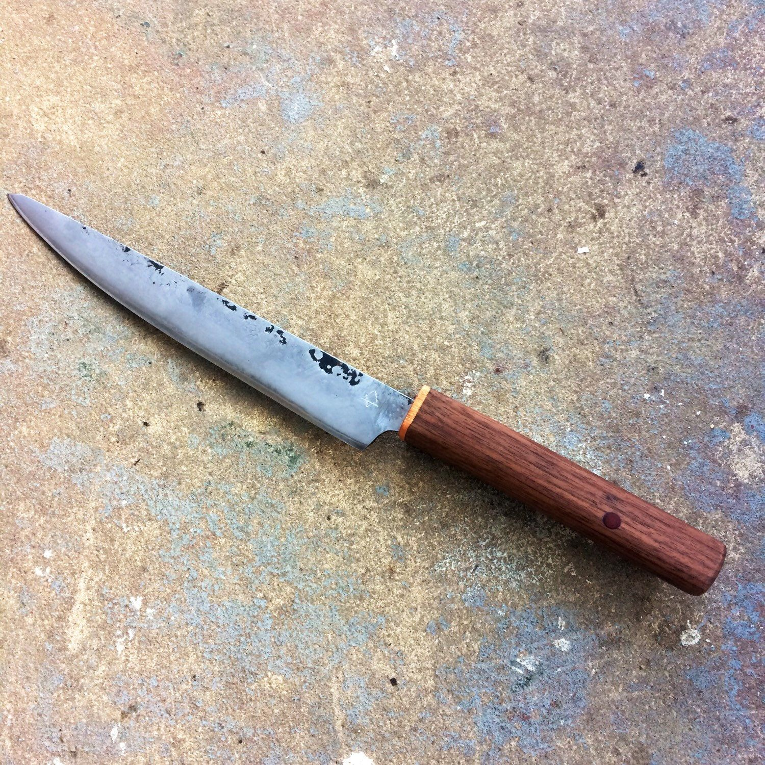 Hand forged rustic kitchen knife. 3 layer San Mai with Hitachi White ...