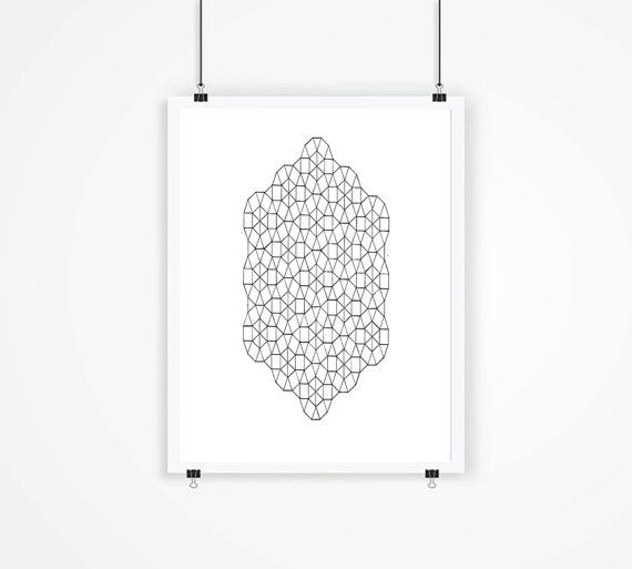 Geometric Print Art  Black and White Print Abstract by mixarthouse