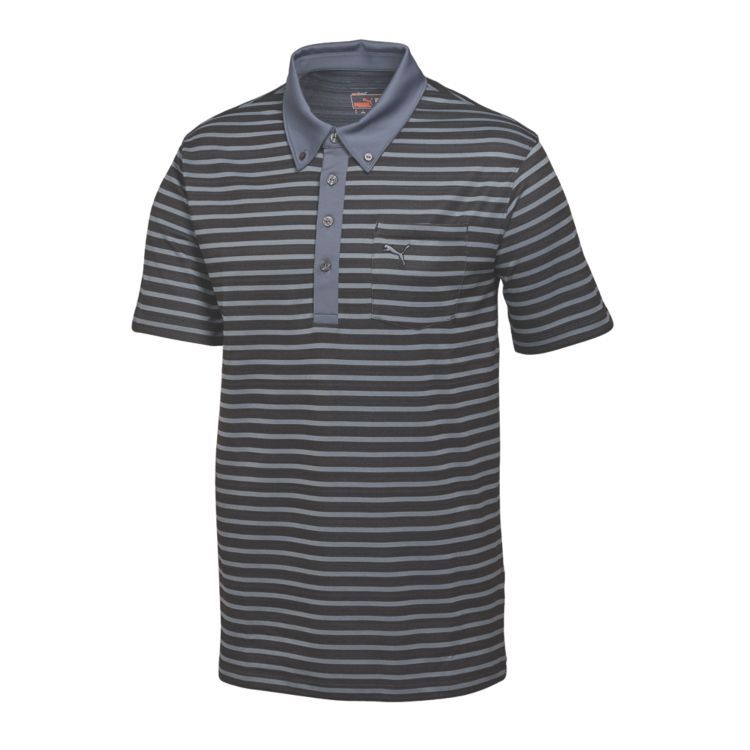 Puma Stripe Pocket Mens Golf Polo Folkstone Gray Black