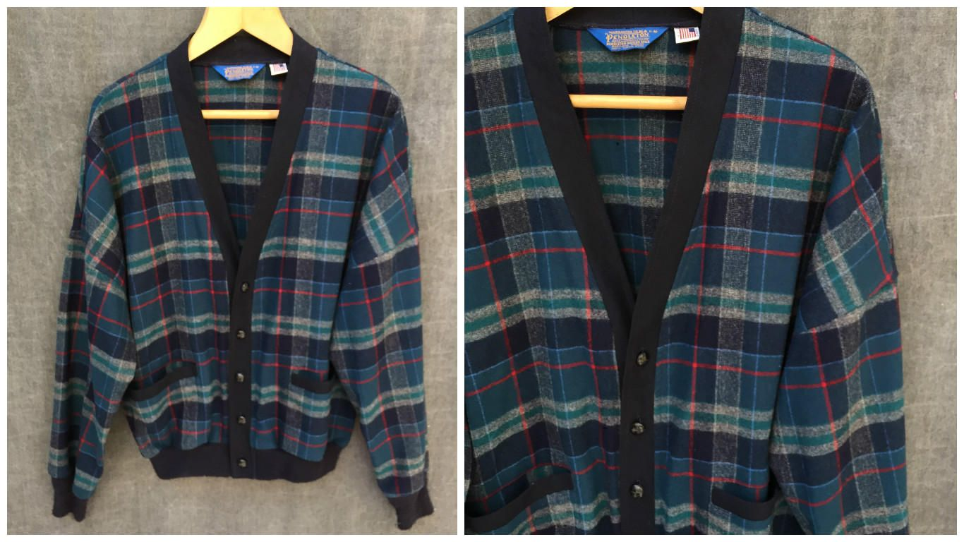 60's Pendleton Plaid Wool Cardigan Sweater Button Front - Men's ...