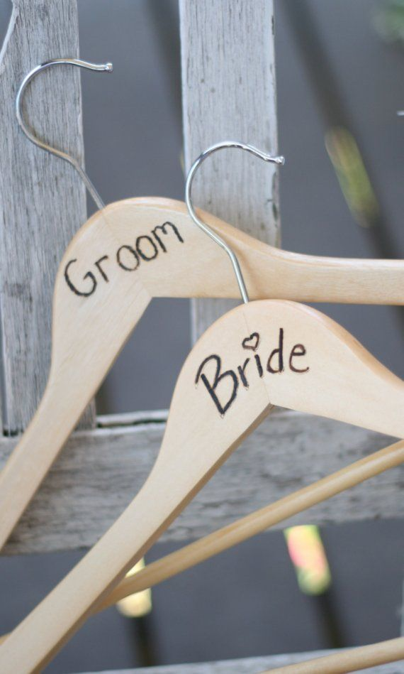 Wedding Hangers Bride and Groom Rustic Photo Props by braggingbags, $29.99