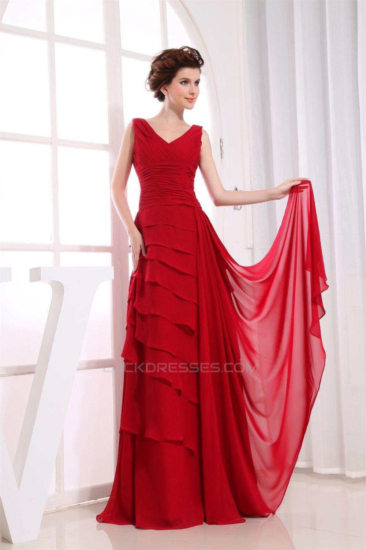 Illusion sleeves aline floorlength vneck long red chiffon