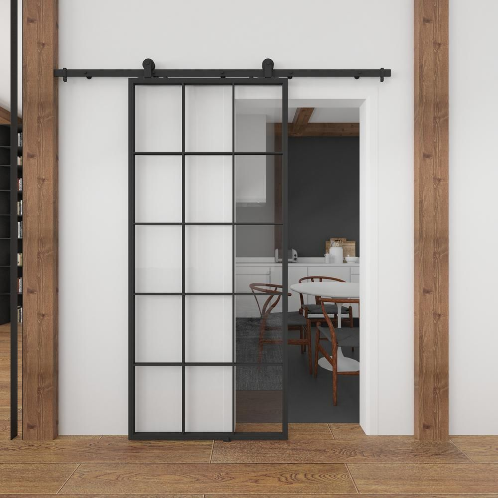Queen S 37 In X 84 In Full 15 Lite Clear Glass Black Metal Sliding Barn Door With Hardware Kit Kmctqnc 37bl E The Home Depot In 2020 Glass Barn Doors Interior Sliding Barn Doors