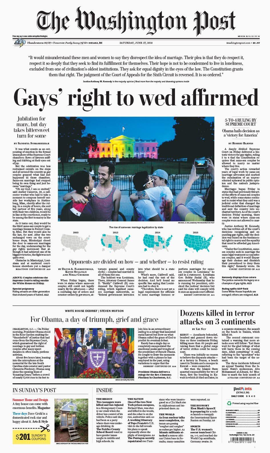 Washington Post gay marriage Newspaper Cover, Newspaper Headlines,  Washington Post Front Page, Editorial