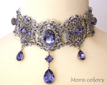 Purple Swarovski Crystal Choker Gothic Wedding Choker Silver Choker Bridal Necklace Victorian Gothic Jewelry Wedding Jewelry #bridalshops