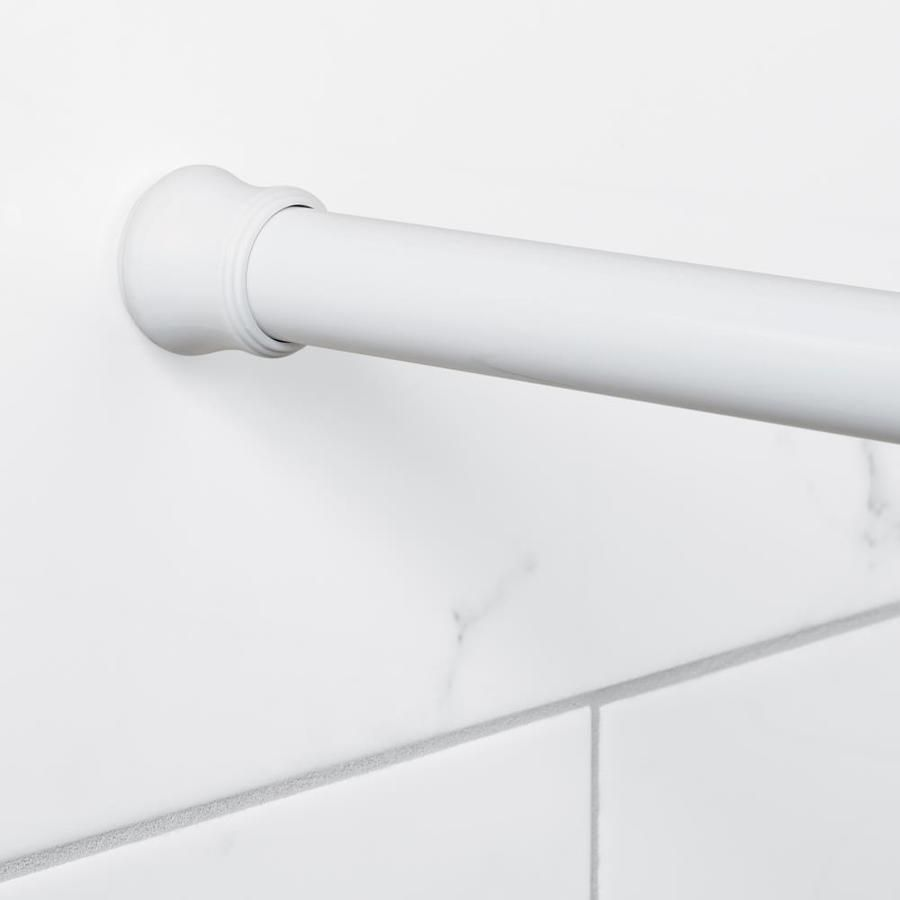Zenna Home 51 In To 86 In White Tension Single Straight Shower Rod
