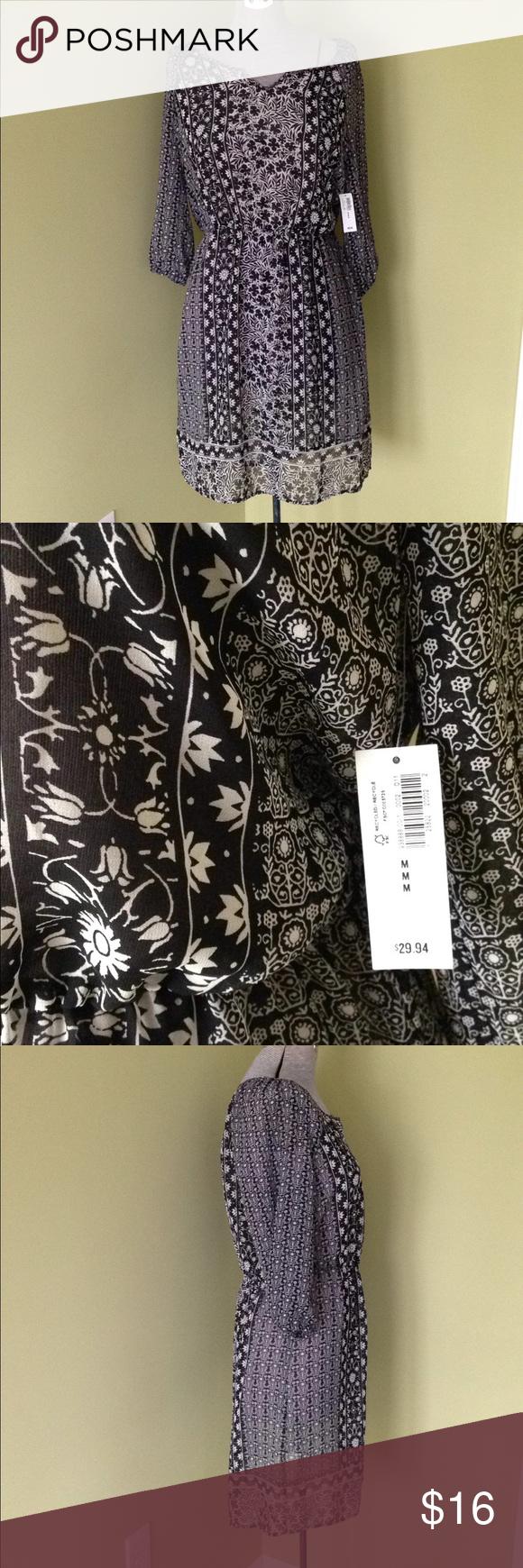 Old navy sheer dress cover up black white print m sheer dress