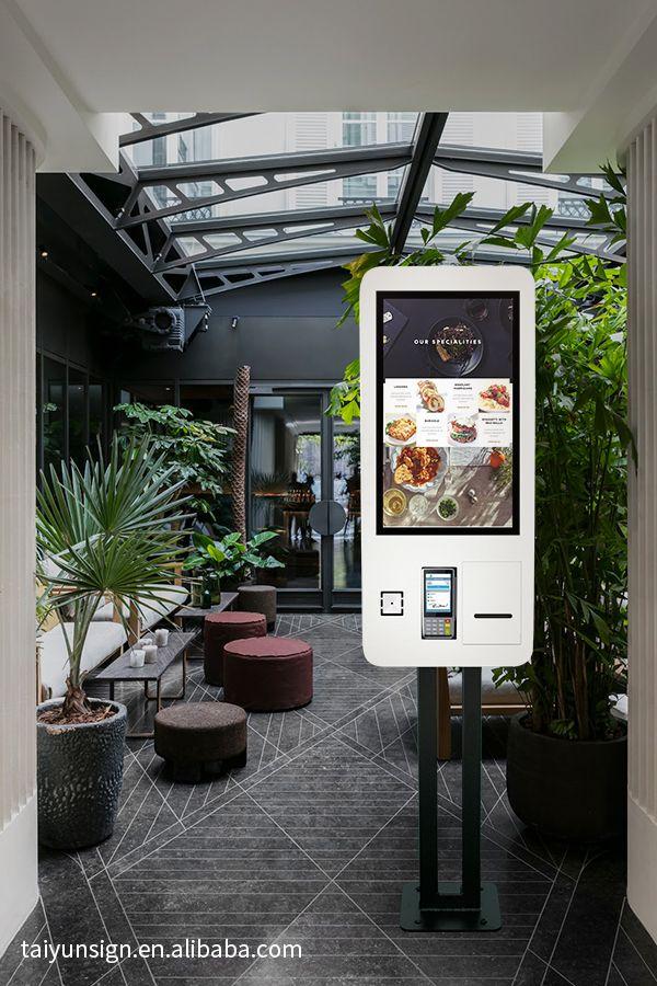 27 inch fast food restaurant ordering machine kiosk self