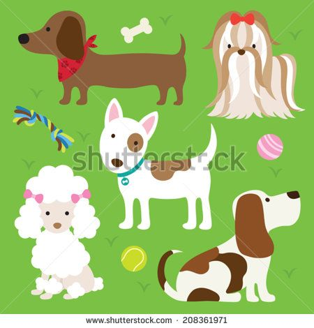 Vector Illustration Of Dogs With Toys Illustration Free