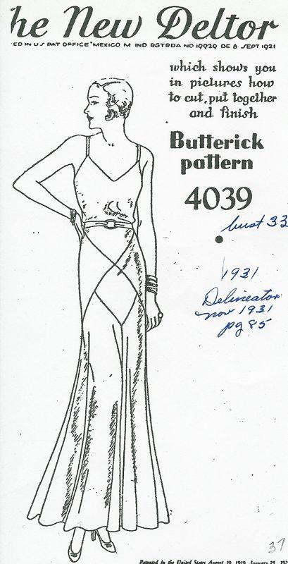 Butterick 4039 | 1930s Evening Dress | 1930s Butterick Evening ...