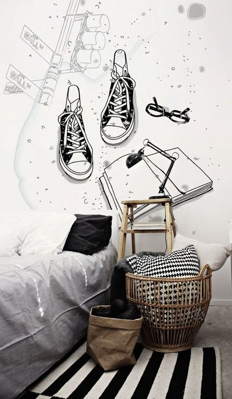 Wood, Black And White Wallpainting. Cool Teenager Room. Tolle Inspiration  Für Ein Teenager Zimmer. Schwarz Und Weiß. #wandbemalung #wallpainting #bu2026
