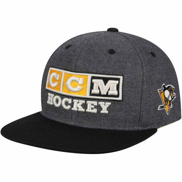 Pittsburgh Penguins CCM Front Flat Brim Snapback Adjustable Hat - Charcoal - $27.99