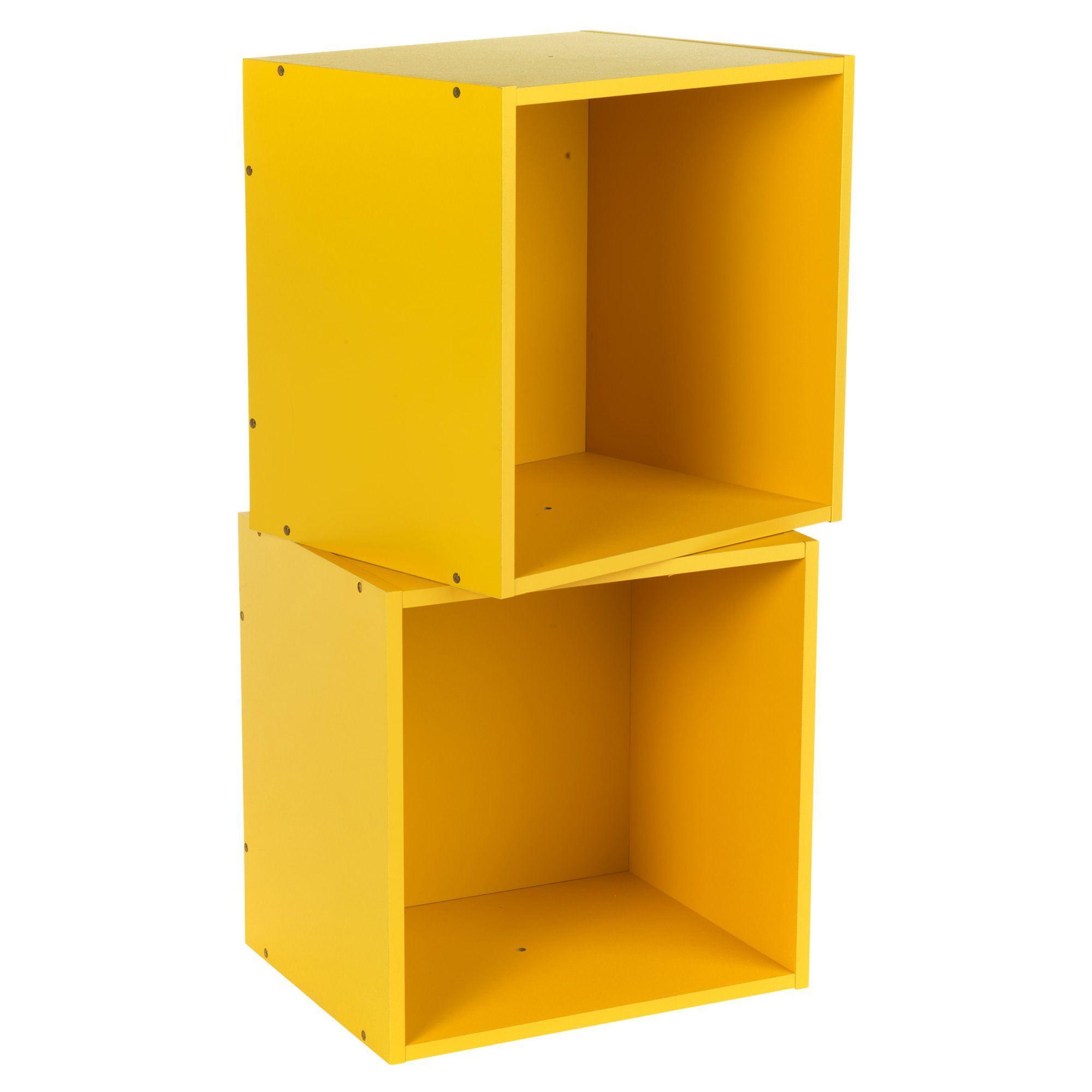 Lot de 2 cases jaune Jaune - Kubico - Les étagères à composer ...