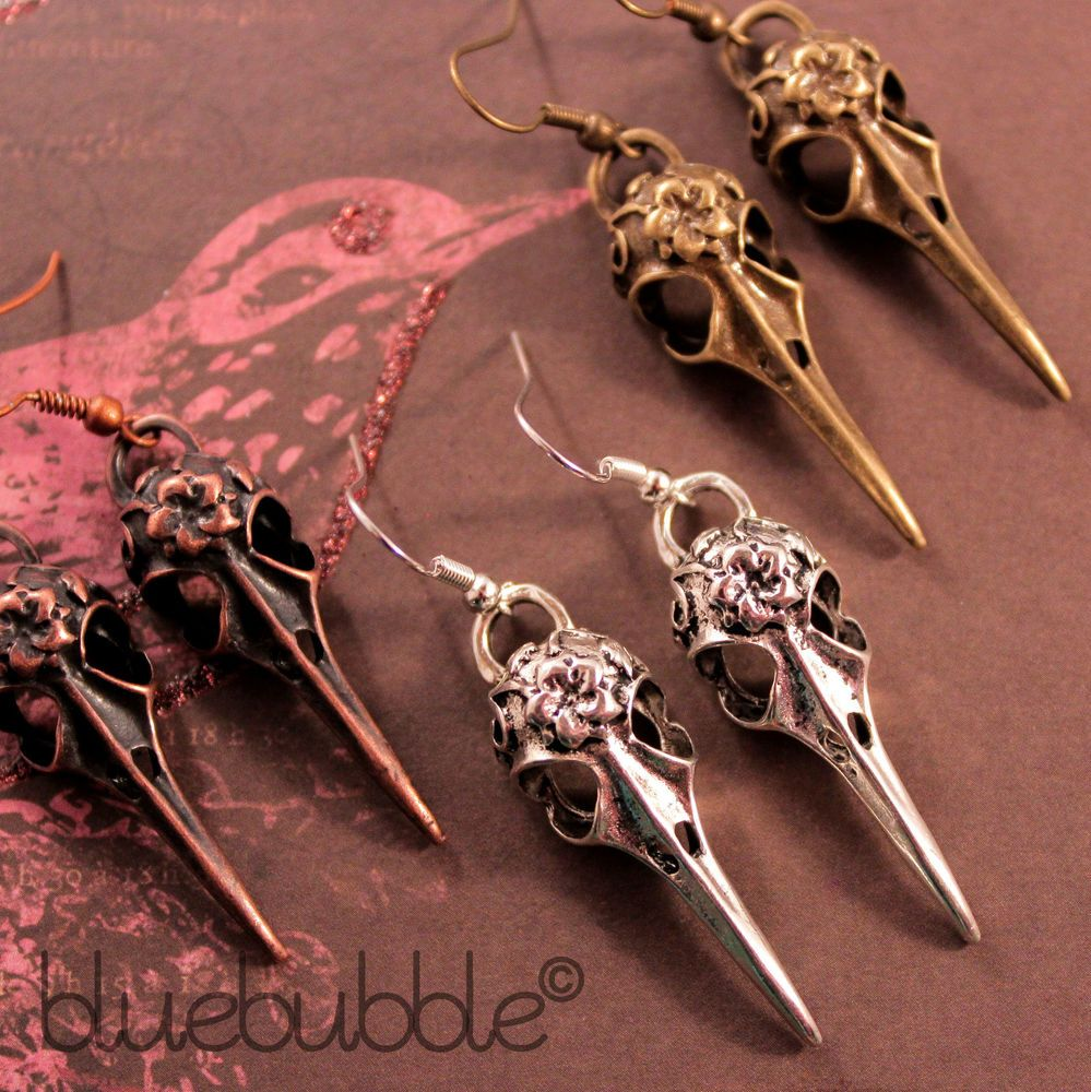 Steampunk Bird Raven Skull Bronze Silver Gothic Earrings with Gift Box
