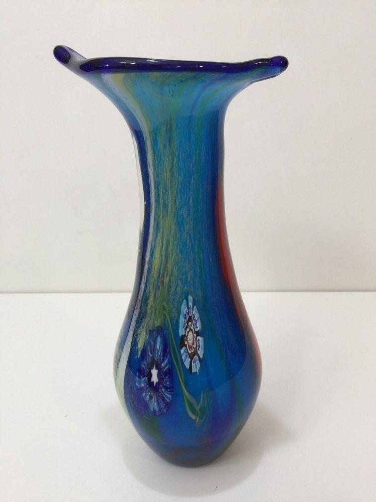 Vintage Italy Murano Art Glass Blue Vase 9 12 Tall X 4 34