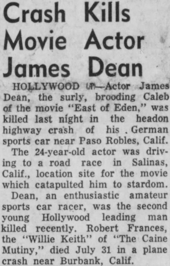 Yesterday S Print Hollywood October 1 1955 James Dean Death