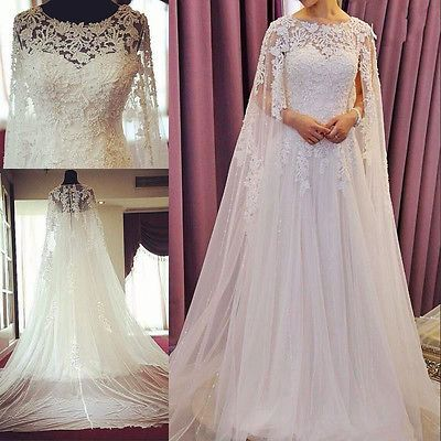 2015 Vintage Lace Beads Wedding Dresses With Cape Cloak Bridal Gowns Custom Made